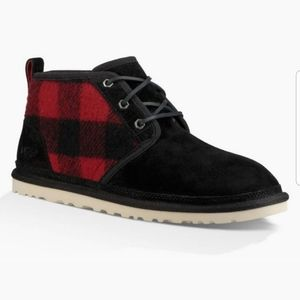 UGG Nuemel black suede red plaid chukka boot 12